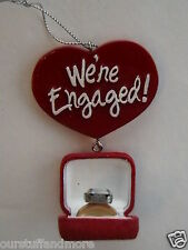 YEARROUND Midwest Gift Holiday Ornament/WE'RE ENGAGED! FAUX RING in BOX + HEART