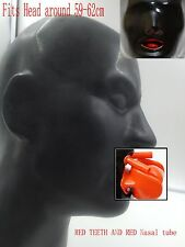 Latex Men Face Mould Mask 1.0mm With Red Teetch Red Nasal Tube (Fit 59-62cm)