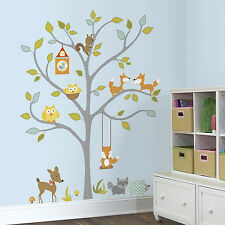 GIANT WOODLAND FOX & OWLS WALL DECALS Baby Forest Animals Stickers Nursery Decor