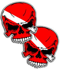"TWO 5"" x 5.75"" Scuba Dive Skull Sticker Decal Flag face Tank Gear Graphic Diver"