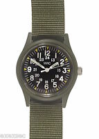 MWC Olive Drab 1960/70s Vietnam Pattern Military Watch on Matching Webbing Strap