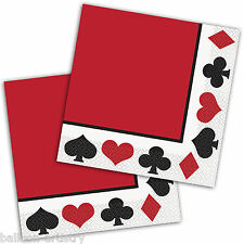 16 Classic Casino Playing Cards Poker Night Party 33cm Paper Luncheon Napkins