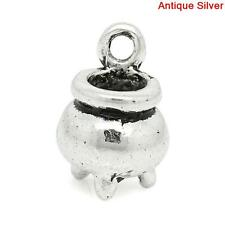 30pcs Witch Cauldron Charm Antique Silver 12mm x 8mm AVBeads