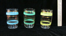 Vintage Clear Glasses Colored Stripes Gold Yellow Blue Green Mid Century Set 3