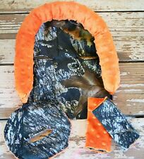 mossy oak and orange minky headsupport, strap covers, and buckle cover