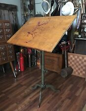 Antique Dietzgen Drafting Table Industrial Adjustable Cast Iron Base Steampunk