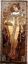 "ALPHONSE MUCHA ""AUTUMN"" 59"" X 25"" FULLY LINED TAPESTRY WALL HANGING + ROD SLEEVE"
