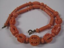 Vintage Estate CORAL COLORED CARVED LUCITE BEADS Necklace Strand Uniquely Shaped