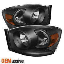 2006-2008 Dodge Ram 1500 06-09 2500 3500 Black Headlights Lights Left+Right 2007