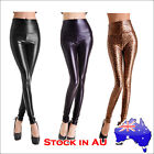 Fashion Lady Wet Leather Look High Waist Leggings Pants Tight Ladies Womens