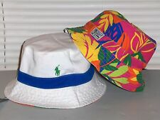 POLO RALPH LAUREN Bucket Hat, REVERSIBLE Cap, Pony, Chino, White, Bright, S/M