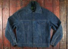 VTG KAWASAKI BLUE SUEDE LEATHER TRUCKER JACKET DENIM STYLE SIZE 40/42
