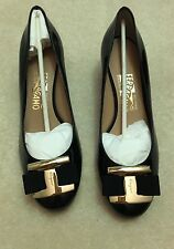 NEw Salvatore Ferragamo Ninna 40 Wedge US 8 Black Retail $525+ Tax