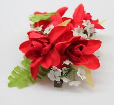 Hawaii Hair Clip Lei Party Luau Tuberose Flower Dance Beach Photo Red Solid SQ
