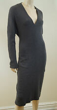 MAXMARA Made In Italy Grey Wool Rabbit Angora Blend V Neck Dress Sz I44 UK12