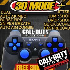 BLACK/BLUE PS3 RAPID FIRE MODDED CONTROLLER COD ADVANCED WARFARE GHOSTS