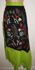 New Embroidered Cotton Wrap Skirt 8 10 12 14 - Fair Trade Gringo Ethnic Gypsy