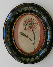 UNUSUAL BLACK OVAL VICTORIAN FLORAL DECORATED FRAME W 18TH C CARNATION PRINT