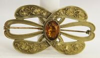 ANTIQUE Jewelry VICTORIAN ERA SASH PIN BROOCH NOUVEAU STYLE LARGE GLASS STONE