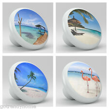Set of 4 Ocean Palm Tree Flamingo Ceramic Knobs Pull Kitchen Drawer Cabinet  226