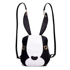 New Rabbit Type Women Backpack Shoulder Bag Ladys Purse Backbag Black&White