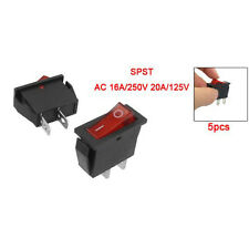 5 Pcs 2 Pin SPST Red Neon Light On/Off Rocker Switch AC 16A/250V 20A/125V LW