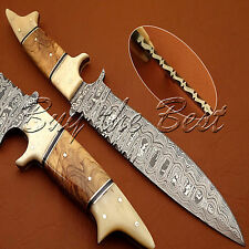 BEAUTIFUL CUSTOM HAND MADE DAMASCUS STEEL HUNTING BOWIE KNIFE HANDLE WOOD & BONE