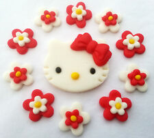 Hello Kitty Set 1 Placa & 10 Flores Comestibles azúcar Cupcake Topper Decoraciones