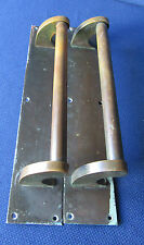 """Reclaimed Salvage Pair Large Brass Door Pull Handles 16"""" with Finger Plate #A"""