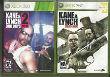 Lot of 2 KANE&LYNCH XBOX 360 Games+ DEAD MEN&DOG DAYS Complete!!!