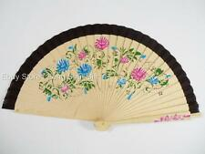 Folding Wood Hand Painted Floral Summer Spanish Fabric Wdding Party Dance Fan #b