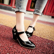 Fashion Ladies Mary Jean Chunky heel Ankle Strap Date Prom Work Shoes Sz UK2-9