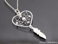 925 Sterling Silver Heart Dreamcatcher Pendant Necklace Jewellery