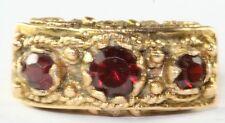 VINTAGE VICTORIAN REVIVAL ETRUSCAN 14K GOLD 1 CARAT GARNET RING SIZE 6