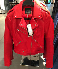 BNWT ZARA INTENSE RED COLOURFUL FAUX LEATHER BIKER JACKET SIZE M