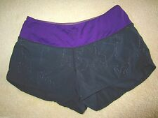 Lululemon Ultra Short Black & Purple Waist w Images of Reflective Poses 2