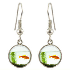 Goldfish Bowl Silver Plated Dangle Earrings Gift Boxed Fish Aquatic Gift BNIB