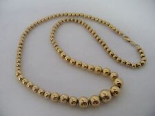 14K YELLOW GOLD GRADUATED BEAD BALL NECKLACE 17.25 INCHES
