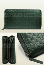 $550 GUCCI WALLET 307987 GREEN MICROGUCCISSIMA LEATHER ZIP AROUND GG LOGO