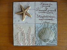 """New View Plaque Tile Wall Decor Sea Shells """"Live in the Present....""""   Thoreau"""