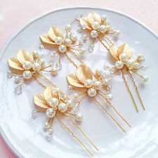 4×Crystal Bride Flower Hair Comb Clip Rhinestone Pearl Bridal Hairpin Nice New