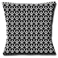 """NEW PEACE LOGO CND ALL OVER PRINT BLACK WHITE 16"""" Pillow Cushion Cover"""