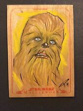 Star Wars Masterworks Color Wood Sketch Chewbacca 1/1 Chris Raimo Blank Auto