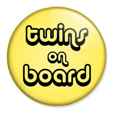 "Twins On Board 25mm 1"" Pin Button Badge Pregnancy Maternity Paternity Baby"