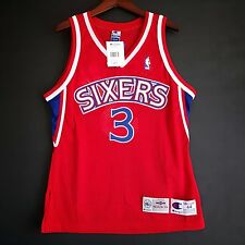 100% Authentic Allen Iverson Champion 76ers Sixers red NBA Jersey size 44 M L