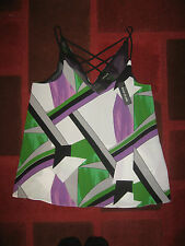 BNWT RIVER ISLAND Purple Green Print Cami Top Size 8
