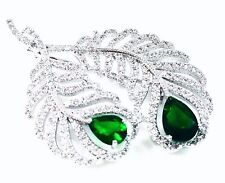 BROOCH Swarovski ELMT PIN Wedding Bridal CZ Cubic Zirconia Crystal Leaf Emerald