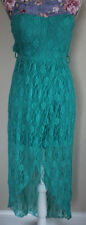 rue 21 green strapless lace high low dress L