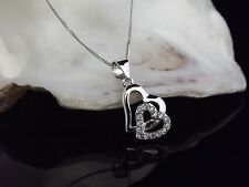 Solid Sterling Silver 925 Double Heart CZ Pendant 18 Inch Chain Necklace Gift