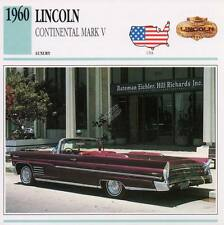 1960 LINCOLN CONTINENTAL MARK V Classic Car Photograph / Information Maxi Card